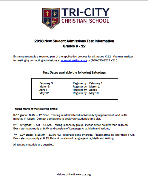 Admissions Test Schedule