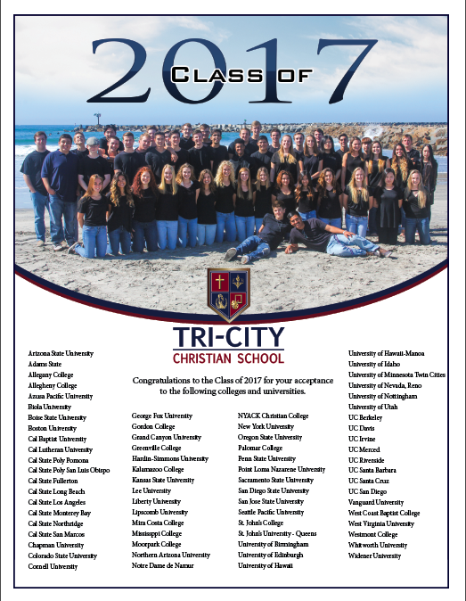 TCCS Class of 2017 College Acceptances