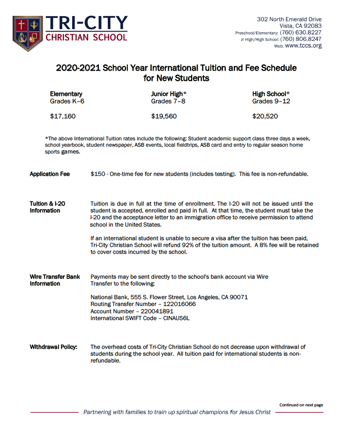 International Tuition and Fee Schedule