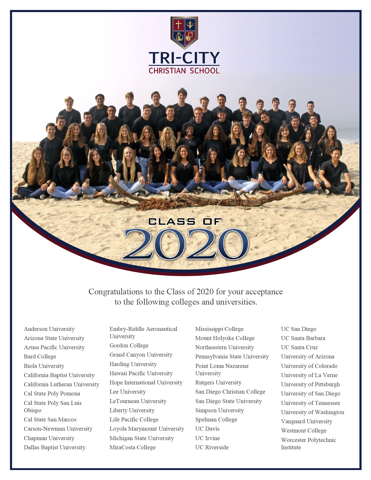 TCCS Class of 2020 College Acceptances