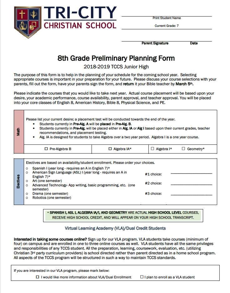 8th Grade Preliminary Planning Form