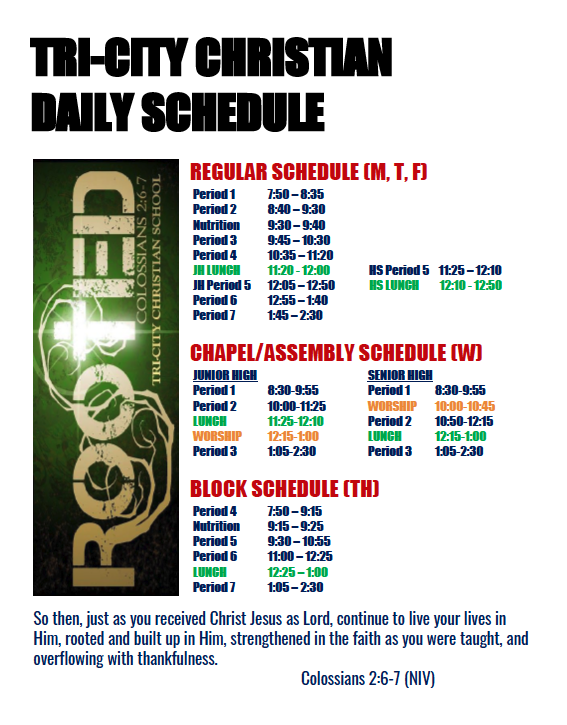 Secondary Daily Schedule