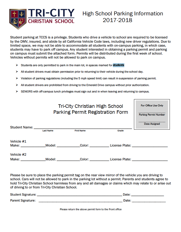 Student Parking Permit Request Form