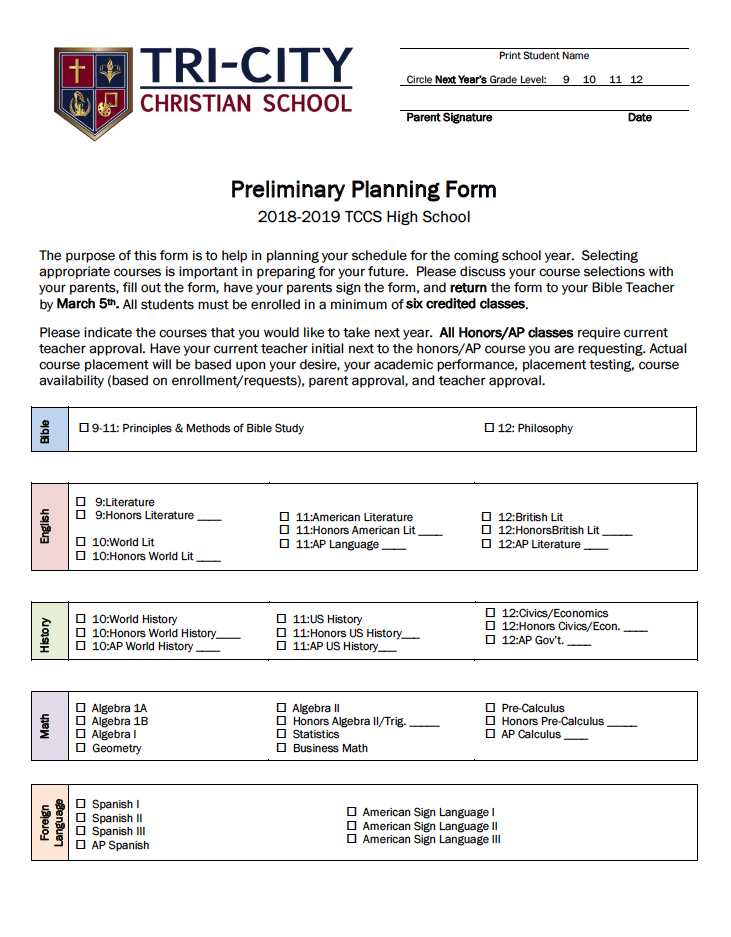 High School Preliminary Planning Form